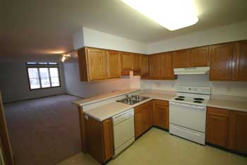Kitchen and living room - unit D - Pheasant Grove Townhomes for rent in Madison, WI